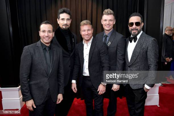 Howie Dorough Kevin Richardson Brian Littrell Nick Carter and AJ McLean of Backstreet Boys attends the 61st Annual GRAMMY Awards at Staples Center on...