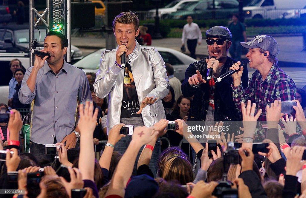 Howie Dorough, Nick Carter, A. J. McLean and Brian Littrell of the Backstreet Boys peform on CBS' The Early Show Summer Concert Series at the CBS Early Show Studio Plaza on May 24, 2010 in New York City.