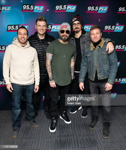 Howie Dorough Nick Carter AJ McLean Kevin Richardson and Brian Littrell of the Backstreet Boys visit 955 PLJ on January 26 2019 in New York City