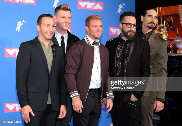 Howie Dorough Nick Carter Brian Littrell AJ McClean and Kevin Richardson pose backstage at the 2018 MTV Video Music Awards Press Room at Radio City...