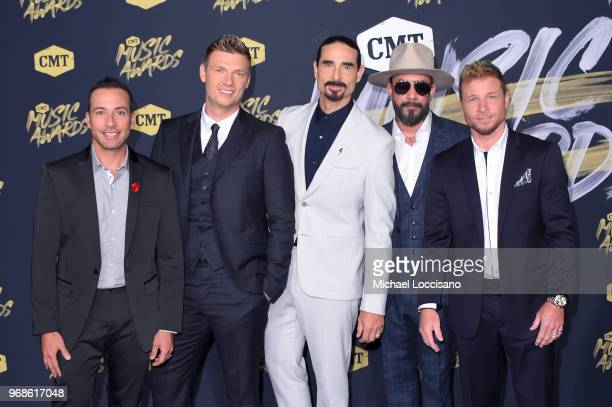 Howie Dorough Nick Carter Kevin Richardson AJ McLean and Brian Littrell of musical group Backstreet Boys attend the 2018 CMT Music Awards at...
