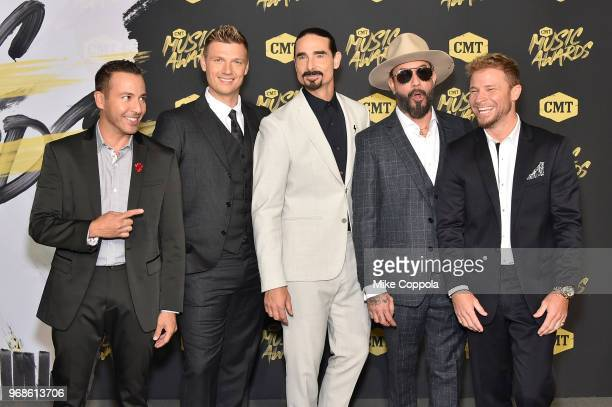 Howie Dorough Nick Carter Kevin Richardson AJ McLean Brian Litrell of Backstreet Boys attend the 2018 CMT Music Awards at Bridgestone Arena on June 6...