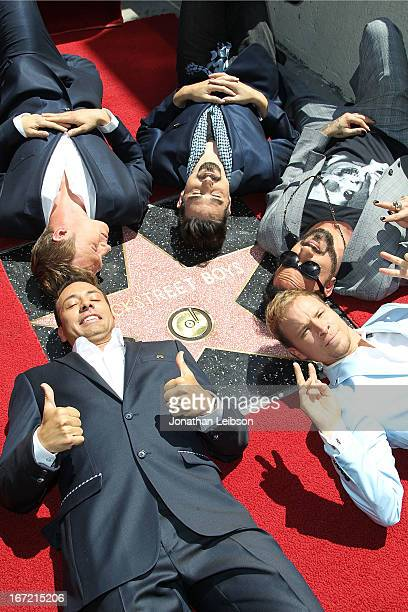 Howie DoroughBrian Littrell AJ Mclean Kevin Richardson and Nick Carter attend the Backstreet Boys Honored with Star On The Hollywood Walk Of Fame on...
