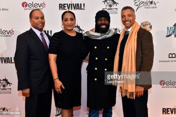 C Howie Hodges Elizabeth Jackson Hodges Mali Music and David Waite are seen at the premier of Harry Lennix's Film Revival a gospel musical based on...