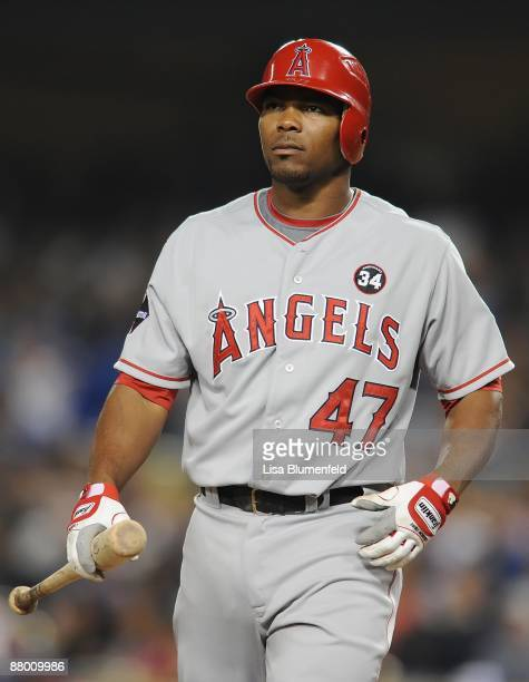 Howie Kendrick of the Los Angeles Angels of Anaheim at bat during the game against the Los Angeles Dodgers at Dodger Stadium on May 22 2009 in Los...