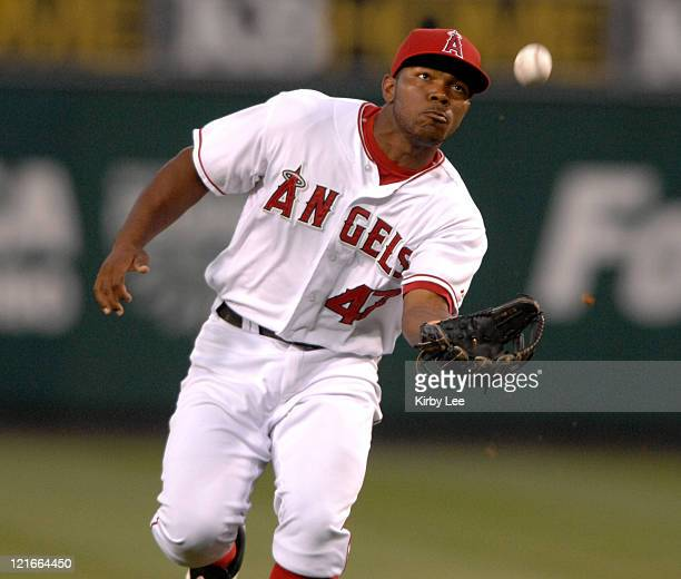 Howie Kendrick of the Los Angeles Angels of Anaheim catches a fly ball during 53 loss to the Kansas City Royals in Major League Baseball game at...
