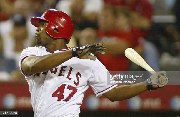 Howie Kendrick of the Los Angeles Angels of Anaheim hits a single against the New York Yankees during the fifth inning of the MLB game held on August...