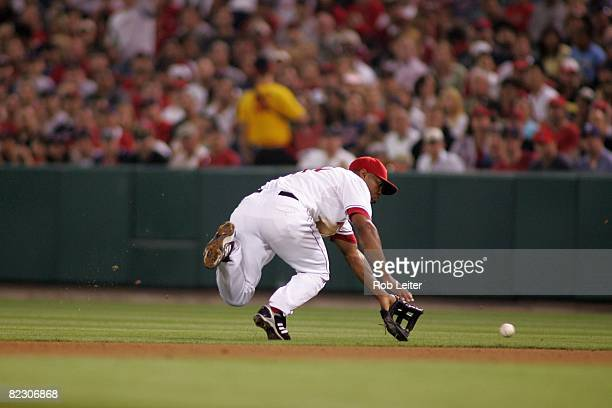 July 18: Howie Kendrick of the Los Angeles Angels of Anaheim plays second base during the game against the Boston Red Sox at Angel Stadium in...