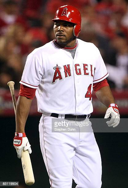 Howie Kendrick of the Los Angeles Angels of Anaheim reacts to being struck out in the fourth inning of game two of the American League Division...