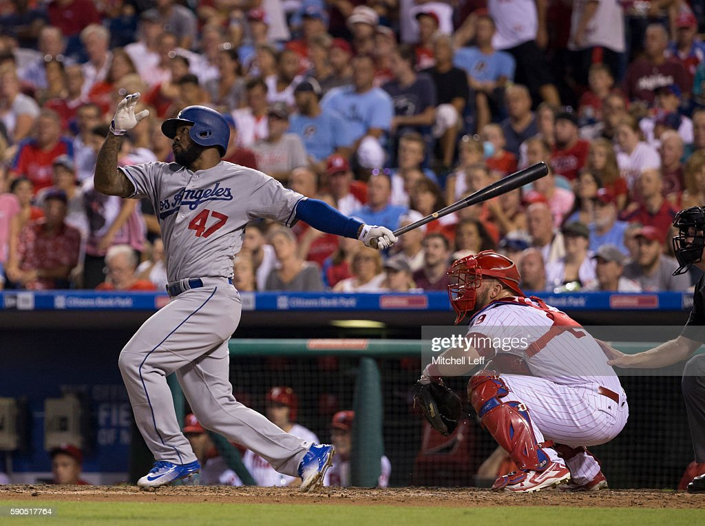 Howie Kendrick #47 of the Los Angeles Dodgers hits a two run home run in the top of the fifth inning against the Philadelphia Phillies at Citizens Bank Park on August 16, 2016 in Philadelphia, Pennsylvania. The Dodgers defeated the Phillies 15-5.