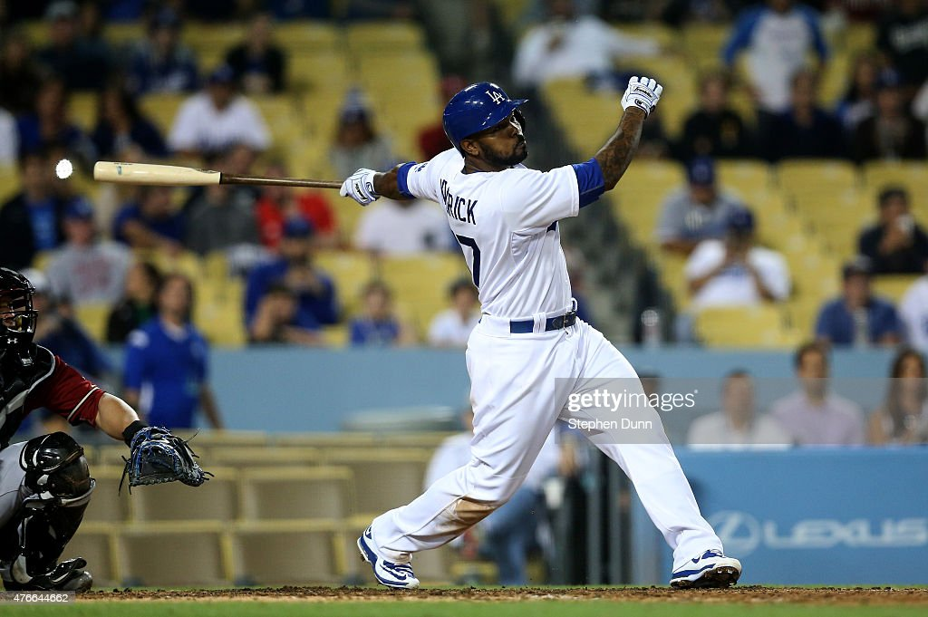 Howie Kendrick #47 of the Los Angeles Dodgers hits a walk off single in the ninth inning against the Arizona Diamondbacks at Dodger Stadium on June 10, 2015 in Los Angeles, California. The Dodgers won 7-6.