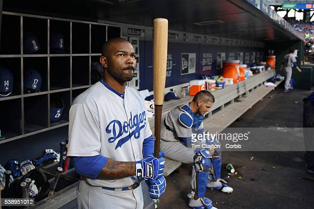 Howie Kendrick of the Los Angeles Dodgers in the dugout preparing to bat during the Los Angeles Dodgers Vs New York Mets regular season MLB game at...