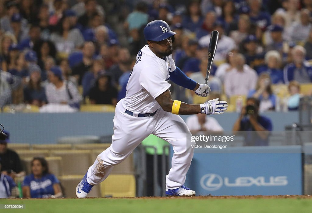 Howie Kendrick #47 of the Los Angeles Dodgers singles to right field during the sixth inning of their MLB game against the San Diego Padres at Dodger Stadium on September 2, 2016 in Los Angeles, California. The Padres defeated the Dodgers 4-2.