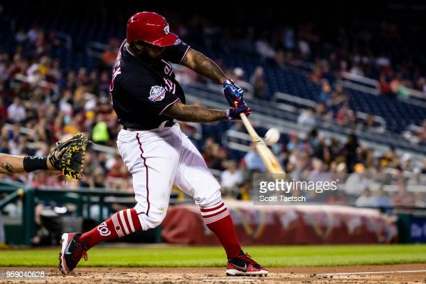 Howie Kendrick of the Washington Nationals at bat against the Pittsburgh Pirates during the fourth inning at Nationals Park on May 1 2018 in...