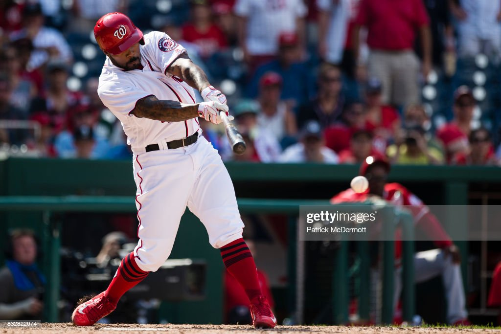 Howie Kendrick #4 of the Washington Nationals grounds out in the ninth inning for the final out of the game as the Los Angeles Angels of Anaheim defeated the Nationals 3-2 at Nationals Park on August 16, 2017 in Washington, DC.