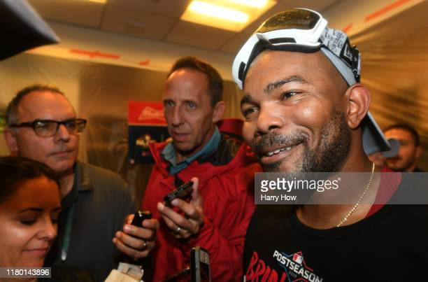 Howie Kendrick of the Washington Nationals is interviewed after his team defeated the Los Angeles Dodgers 73 in ten innings to win game five and the...