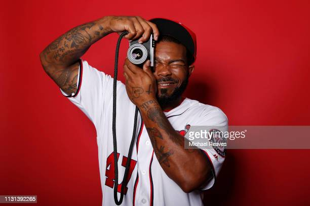 Howie Kendrick of the Washington Nationals poses for a portrait on Photo Day at FITTEAM Ballpark of The Palm Beaches during on February 22 2019 in...