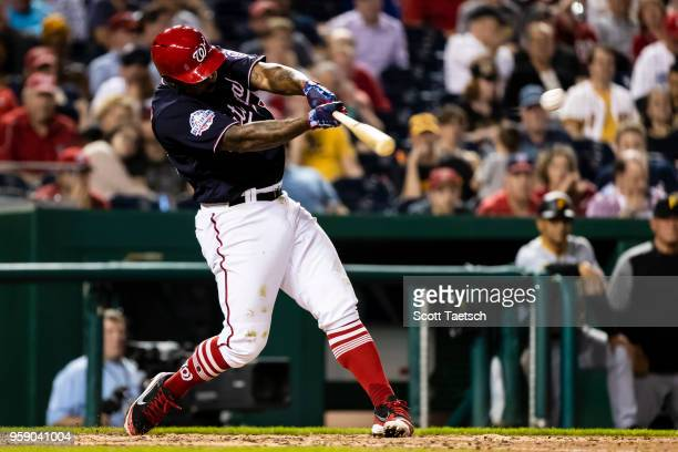 Howie Kendrick of the Washington Nationals singles during the sixth inning against the Pittsburgh Pirates at Nationals Park on May 1 2018 in...
