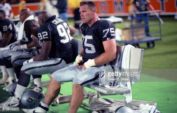 Howie Long of the Los Angeles Raiders against the Los Angeles Rams at Anaheim Stadium circa 1994 in AnaheimCalifornia