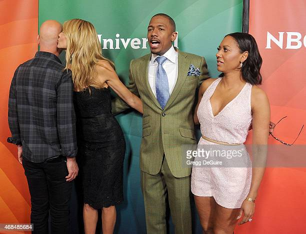 Howie Mandel, Heidi Klum, Nick Cannon and Mel B arrive at the 2015 NBCUniversal Summer Press Day at The Langham Huntington Hotel and Spa on April 2,...
