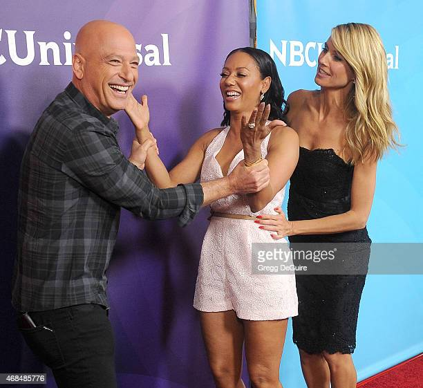 Howie Mandel, Mel B and Heidi Klum arrive at the 2015 NBCUniversal Summer Press Day at The Langham Huntington Hotel and Spa on April 2, 2015 in...