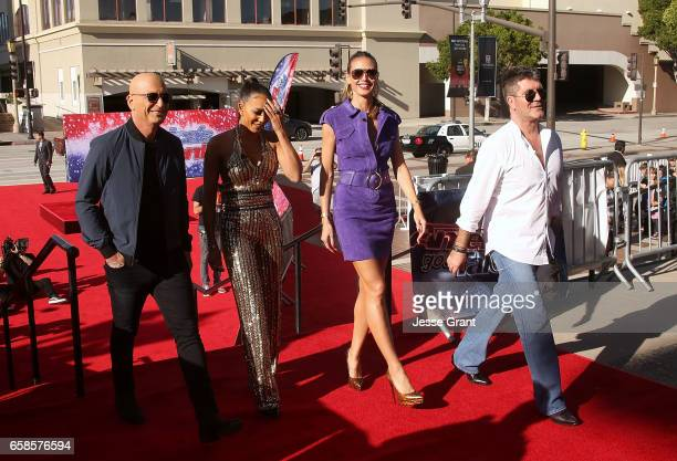 Howie Mandel Mel B Heidi Klum and Simon Cowell attend NBC's 'America's Got Talent' Season 12 Kickoff at the Pasadena Civic Auditorium on March 27...