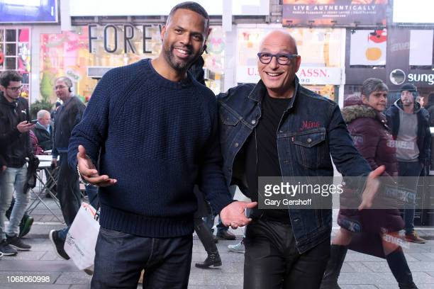 Howie Mandel visits 'Extra' with host A J Calloway to discuss the show 'Deal or No Deal' at Levi's Times Square on December 3 2018 in New York City