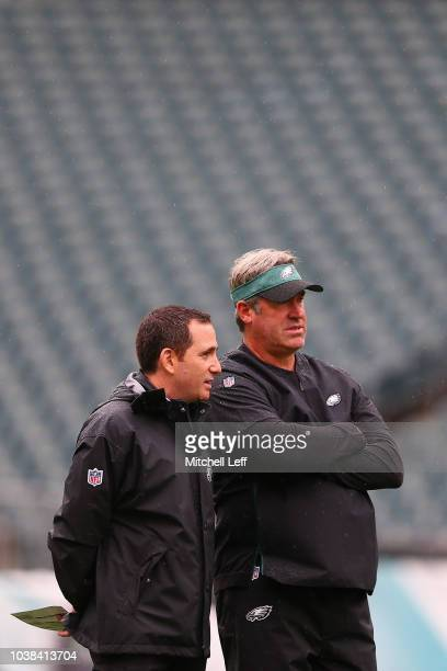 Howie Roseman General Manager of the Philadelphia Eagles and head coach Doug Pederson of the Philadelphia Eagles talk before taking on the...