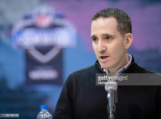 Howie Roseman general manager of the Philadelphia Eagles is seen at the 2019 NFL Combine at Lucas Oil Stadium on February 28 2019 in Indianapolis...