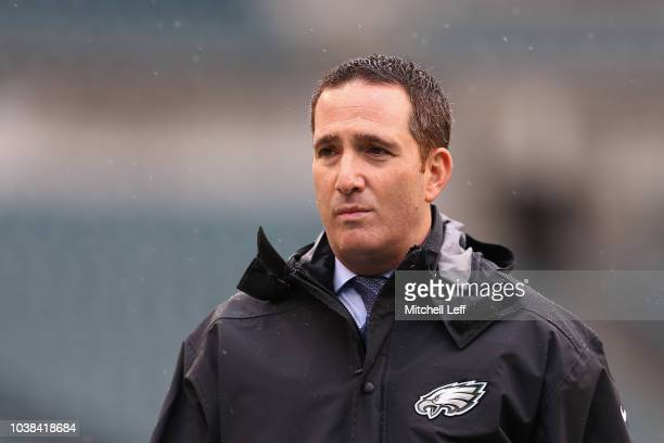 Howie Roseman General Manager of the Philadelphia Eagles looks on before the game against the Indianapolis Colts at Lincoln Financial Field on...