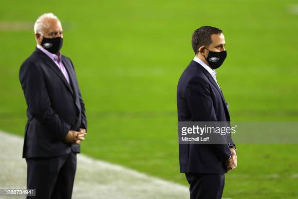 Howie Roseman, right, and Philadelphia Eagles owner Jeffrey Lurie look on during warm ups against the Seattle Seahawks at Lincoln Financial Field on...