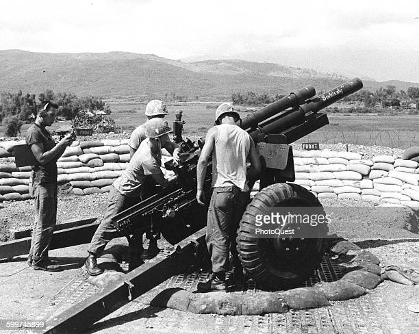 """Howitzer of """"B"""" Battery First Battalion Twelfth Marines on Hill 41 Viet Nam September 30 1966"""