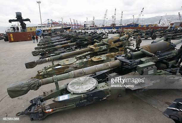 Howitzers are seen at Beirut port upon the arrival of a shipment from the US military aid to the Lebanese army, at the Beirut port in Beirut,...