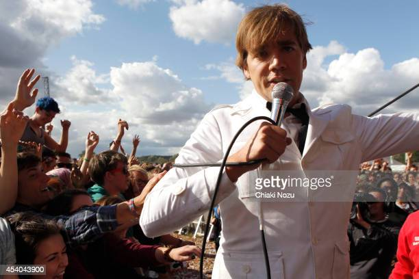 Howlin' Pelle Almqvist of The Hives performs on Day 2 of the Reading Festival at Richfield Avenue on August 23 2014 in Reading England