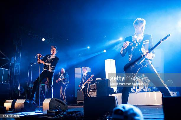 Howlin' Pelle Almqvist Vigilante Carlstroem Dr Matt Destruction and Nicholaus Arson of Swedish garage rock group The Hives performing live on the...