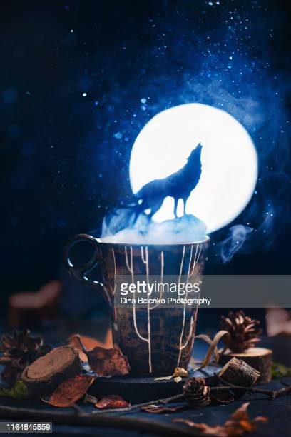 howling on moon wolf silhouette on a ceramic mug in a forest scene. nature concept, magical food photography. - monster fictional character stock pictures, royalty-free photos & images