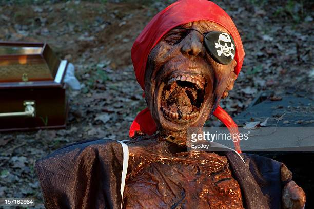 howling pirate corpse and coffin - maggot stock photos and pictures