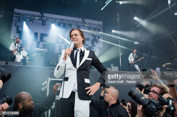 Howllin Pelle Almqvist from The Hives performs during first Lollapalooza in France at Hippodrome de Longchamp on July 22 2017 in Paris France