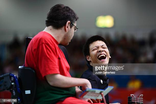 HoWon Jeong of Republic of Korea celebrates winning the Mixed Individual Boccia BC3 semifinal against Jose Macedo of Portugal on Day 9 of the London...