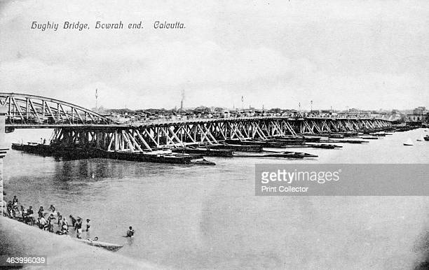 Howrah Bridge over the Hooghly River Calcutta India early 20th century Postcard