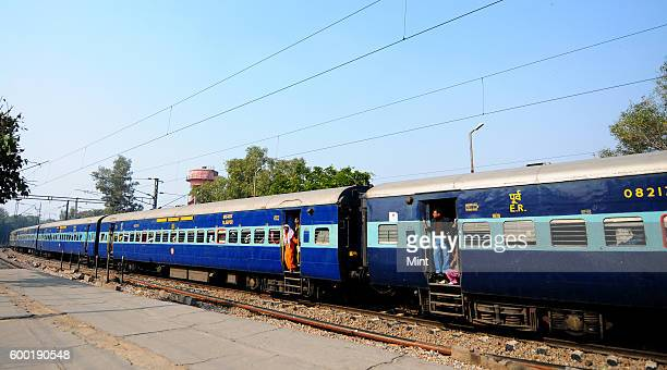 Howrah to Delhi train at New Delhi Railway Station on February 11 2013 in New Delhi India