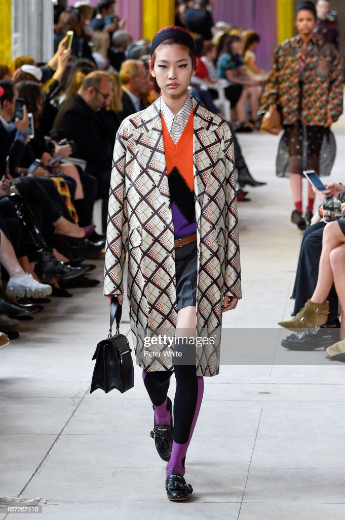 Hoyeon Jung walks the runway during the Miu Miu Paris show as part of the Paris Fashion Week Womenswear Spring/Summer 2018 on October 3, 2017 in Paris, France.