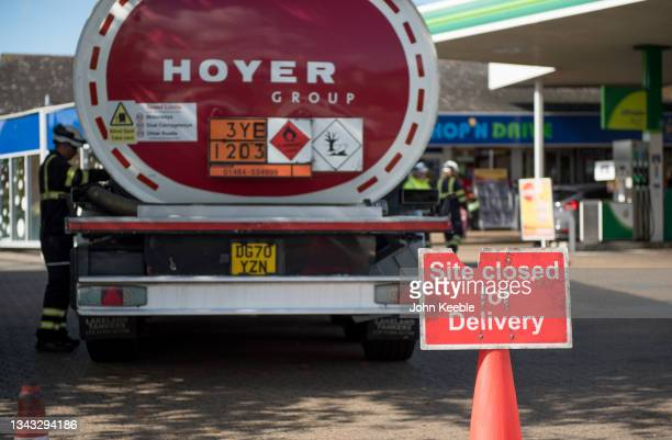 Hoyer group fuel tanker refills a BP garage/petrol station on September 27, 2021 in Leigh on Sea, Southend, England. A shortage of lorry drivers in...