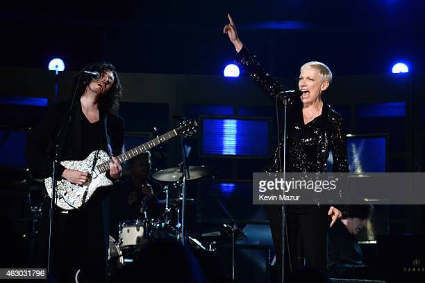 Hozier and Annie Lennox perform onstage during The 57th Annual GRAMMY Awards at the STAPLES Center on February 8 2015 in Los Angeles California