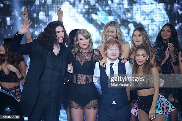 Hozier Taylor Swift Ed Sheeran and Ariana Grande at the annual Victoria's Secret fashion show at Earls Court on December 2 2014 in London England