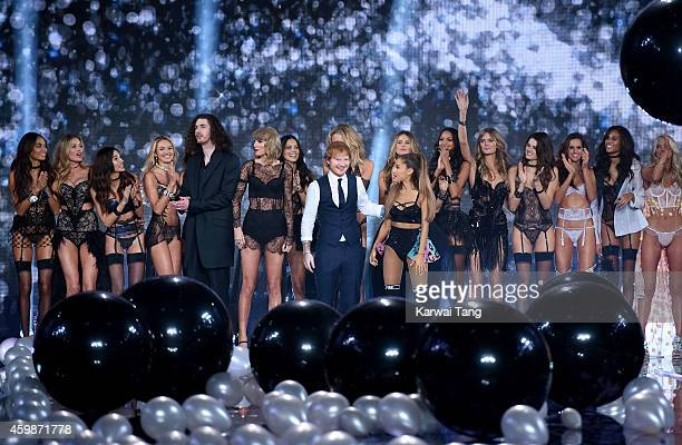 Hozier Taylor Swift Ed Sheeran and Ariana Grande pose with models on the runway at the annual Victoria's Secret fashion show at Earls Court on...
