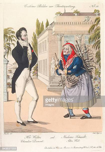 Hr Walter und Madame Schmidt Chevalier Dumont Altes Weib Colored copper engraving by Andreas Geiger by Johann Christian Schoeller Picture supplement...