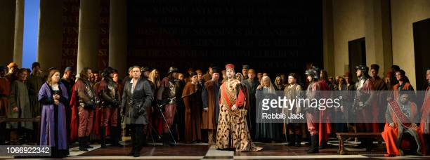 Hrachuhi Bassenz as Amelia Grimaldi Francesco Meli as Gabriele Adorno Carlos Alvarez as Simon Boccanegra and Simon Shibambu as Pietro with artists of...