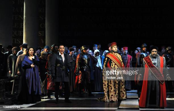 Hrachuhi Bassenz as Amelia GrimaldiFrancesco Meli as Gabriele Adorno and Carlos Alvarez as Simon Boccanegra with artists of the company in Giuseppe...