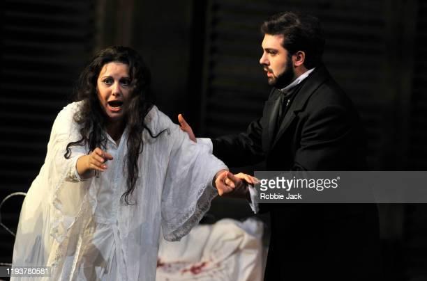 "Hrachuhi Bassenz as Violetta Valery, and Liparit Avetisyan as Alfredo Germont in The Royal Opera's production of Giuseppe Verdi's ""La Traviata""..."